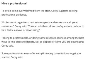 downsizing with a professional
